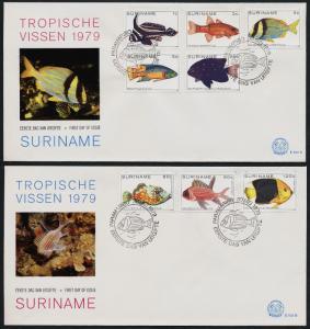 Surinam 530-4, C89-91 on FDC - Tropical Fish