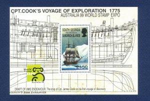 SOUTH GEORGIA - # 230 - MNH S/S  - Captain Cook, Australia '99 World Stamp Expo