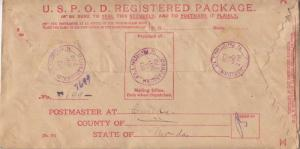 United States United States Back of the Book U.S.P.O.D. Registered Package Ph...