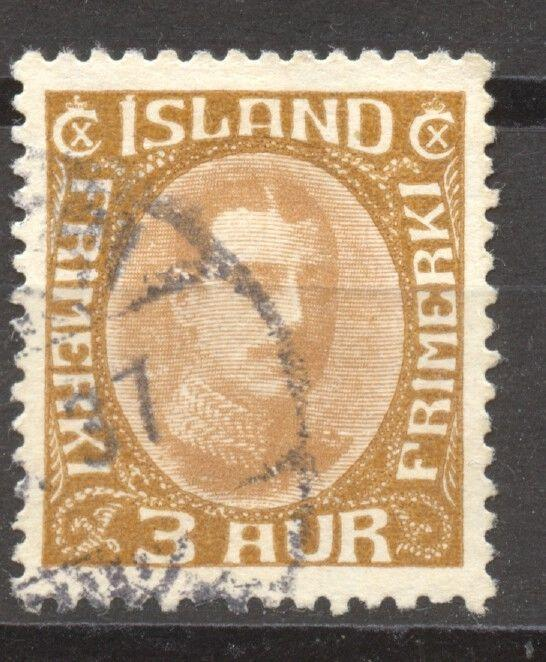 Iceland 1920 Christian X Scott # 109, the 3 A, VF ++ used, no faults,