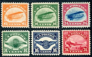 #C1-6 – 1918-23 First Airmail Stamps, set of 6. MNH. OG. XF! Nice Set!