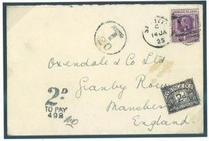 W546 1925 LEEWARD ISLANDS St Kitts Underpaid Taxed/GB Manchester Postage Dues