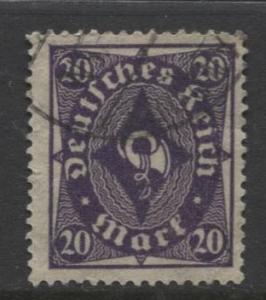 GERMANY. -Scott 191- Definitives -1922- Used - Wmk 126 - Single 20m Stamp