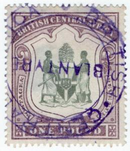 (I.B) Rhodesia/British Central Africa Revenue : Duty Stamp £1 (Blantyre)
