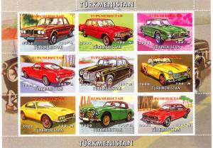 Turkmenistan 2000 CLASSIC CARS Sheetlet (9) Perforated MNH VF