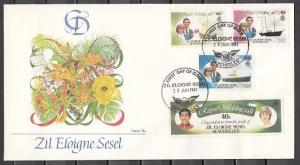 Seychelles-Zil, Scott cat. 23-24, 26, 28. Diana`s Wedding on a First day cover.