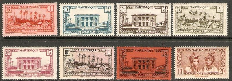 1933-40 Martinique Scott 133-140 Village Gov Pal   MNH number 136 light hinged