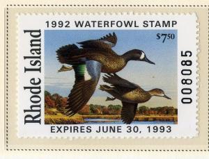 US RI4 RHODE ISLAND STATE DUCK STAMP 1992 MNH SCV $15.00 BIN $7.50