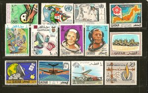 Qatar Collection of 13 Different 1960's-1970's Stamps Mint Hinged