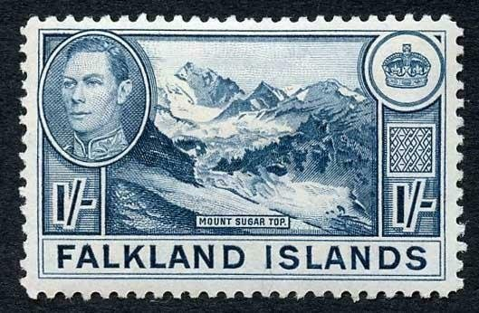Falkland Is SG158b 1/- dull blue (greyish paper) M/M Cat 38 pounds