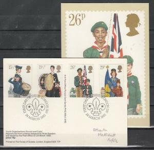 Great Britain, Scott cat. 983-986. Scout issue. Scout Post Card. First day. ^