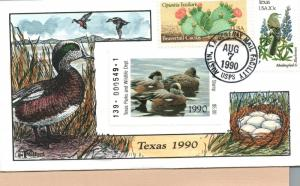 1990 Austin Texas USA Duck Stamp Milford Hand Painted First Day Cover
