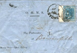 Australian States VICTORIA Cover *MONEY ORDER OFFICE/SYDNEY* Oval 1865 LS88