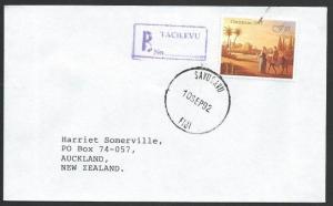 FIJI 1992 cover TACILEVU reg handstamp as agency pmk, Savusavu cds.........50633