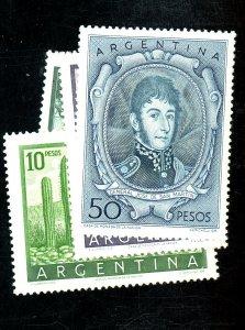 ARGENTINA 639A 640-1 642A MINT VF OG LH Cat $42