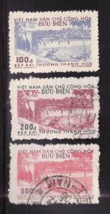 North Viet Nam Scott 47-49 mixed Mint and Used 1956 Dam set