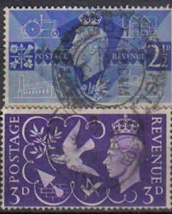 GREAT BRITAIN, 1946, used set., Victory Commemoration.