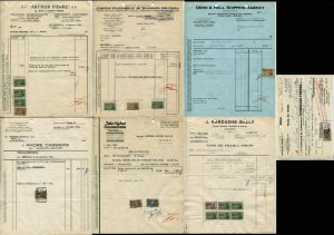Belgium Revenue Stamps on Documents Shipping Transportation Fees Collection 1956