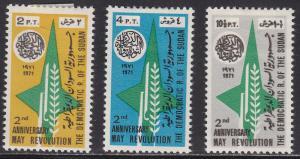 Sudan 236-238 Hinged 1971 May 25th Revolution Set