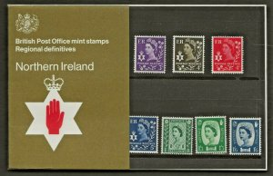 1970 NORTHERN IRELAND DEFINITIVE PRESENTATION PACK 25 - 3d - 1/6  = 7 VALUES