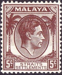 MALAYA STRAITS SETTLEMENTS 1937 KGVI 5 Cent Brown SG281 MH