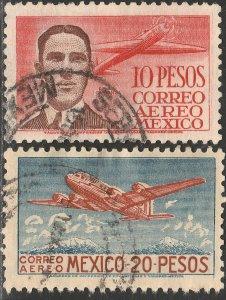 MEXICO C178-C179, $10 & $20P, CAPT. EMILIO CARRANZA & DC4. USED. VF. (1146)