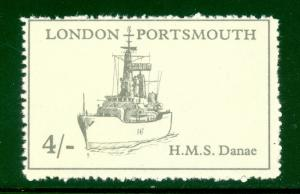 GREAT BRITAIN 1971 STRIKE POST LABELS LONDON to PORTSMOUTH 4s HMS DANAE MNH