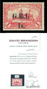 German Colonies - NEW BRITAIN G.R.I. NEW GUINEA 1sh/1mk Sc# 12 mint MH w/cert RR