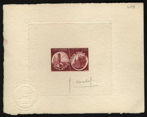 French Andorra Scott 158 Philatec Paris 1954 SIGNED  Artist  Proof on card