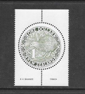 BIRDS - NEW ZEALAND #918 KIWI  (B.A. BANKNOTE,CANADA)  MNH