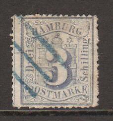 Hamburg Mi 15a used 1867 3s Numeral, blue bar, signed