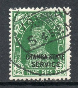 Indian States Chamba 1938 Official KGVI 9p SG O66 used