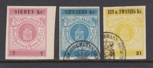 Germany, Hesse, 1868 State revenues, 3 different imperfs, sound, VF