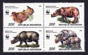 Indonesia WWF Javan and Sumatran Rhinoceros 4v in block 2*2 SG#2267-2270
