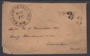US, 1852 MEREDITH VILLAGE, NEW HAMPSHIRE Stampless Cover