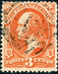 #O17 – 1873 3c ver, interior, hard paper.  Used.