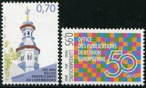 HERRICKSTAMP NEW ISSUES LUXEMBOURG Sc.# 1512-13 Church/E.U. Publications
