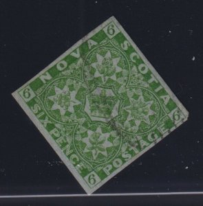 Nova Scotia Sc #4 (1851) 6d yellow green Heraldic 4-Margins Used VF