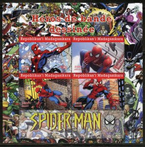 MADAGASCAR 2021 COMIC BOOK HEROES SPIDERMAN SHEET MINT NH