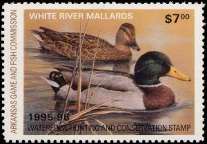 ARKANSAS #15 1995 STATE DUCK  STAMP WHITE RIVER MALLARDS by Larry Hayden