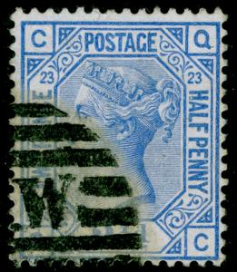 SG157, 2½d blue PLATE 23, USED. Cat £35. QC