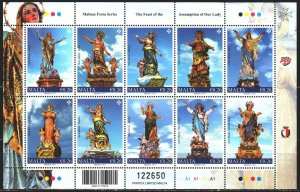 Malta. 2017. Small sheet 1970-79. Sculptures of saints. MVLH.