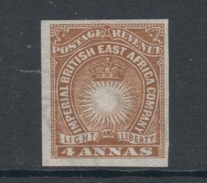 British East Africa Sc 19a MLH. 1890 4a yellow brown Sun & Crown, Cert.