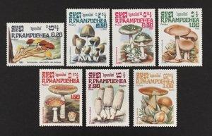 Cambodia 1985 #568-74, Mushrooms, MNH.