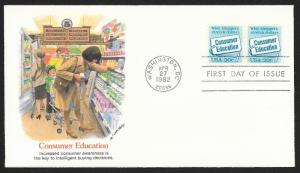 UNITED STATES FDC 20¢ Consumer Education COIL PAIR 1982 Fleetwood