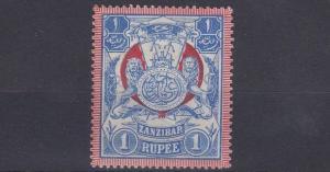 ZANZIBAR  1904       S G 220  1R  BLUE & RED   MH   HAS CREASE