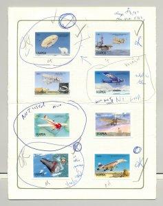 Uganda 1987 Transportation Preliminary Proofs 8v Imperf Proofs in Folder