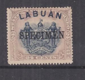 LABUAN, 1897 24c. Blue & Lilac Brown, SPECIMEN, mint no gum.