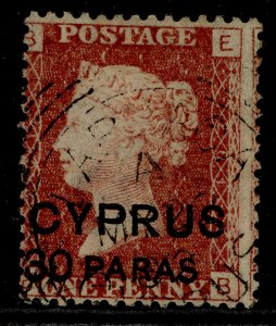 CYPRUS QV SG10, 30 paras on 1d red, FINE USED. Cat £110. PLATE 201. CDS