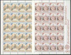 EC072 1983 LIECHTENSTEIN EUROPA CEPT ART GREAT WORKS !!! MICHEL 32 EURO 2SH MNH